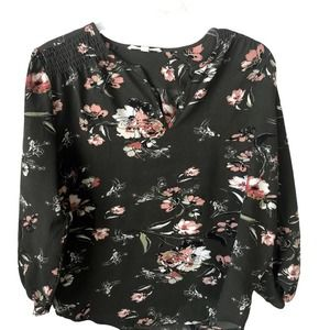 Fun2Fun women's green floral Long Sleeve Blouse